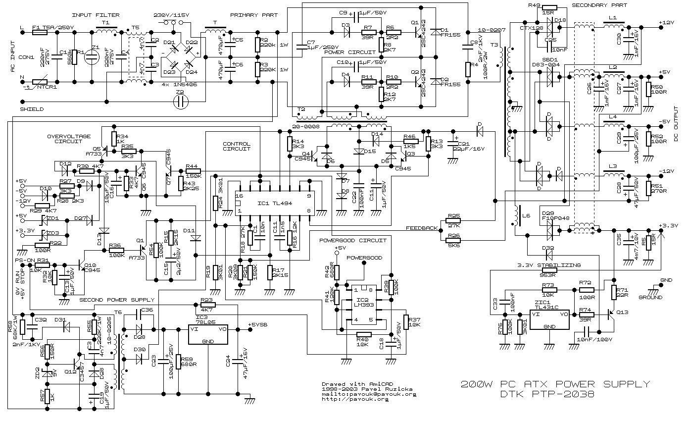 Diagrama de reparación fuente ATX