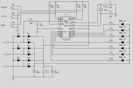 Reloj digital giratorio circuito